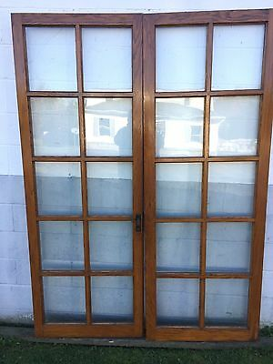 "PAIR ARTS CRAFTS CRAFTSMAN ANTIQUE OAK 10 PANE FLAT GLASS FRENCH DOORS 60"" x 82"