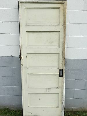 "1 Antique Painted 5 Raised Panel Pocket Barn Door Roller 30"" X 80""  Pickup"