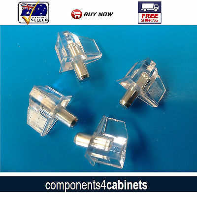 "4 x Clear Plastic Shelf Support Pins (3/16"") 5mm Stud"