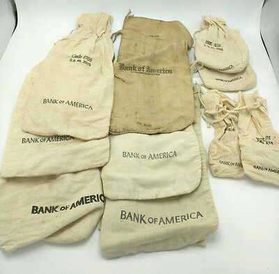 Lot of 10 vintage Canvas / Cloth BANK OF AMERICA Money / Coin / Deposit Bags