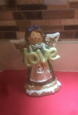Gingerbread Girl Angel Holding Love Sign Christmas Decoration
