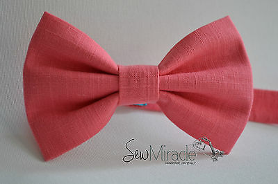 Coral Bow Tie* Sizes 0-10*Linen look Handmade Bow tie