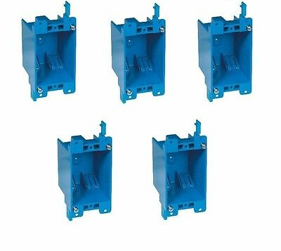 """5-Pc 14"""" Single-Gang Wall Outlet Switch Old-Work Plastic Electrical-Box Remodel"""