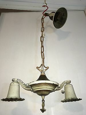 Antique Art Deco Chandelier 2 Ceiling Light Fixture Ornate Tudor Brass Pan VTG