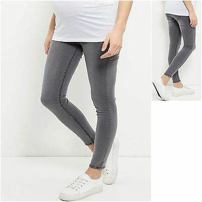 New Look Maternity Jeggings Under Bump Grey Soft Stretch Cotton Rich sz 8-18 New