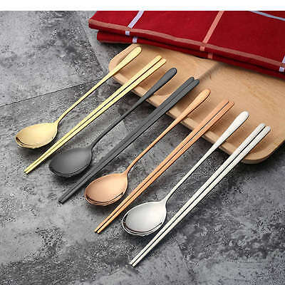 Korean Chopstick and Spoon 1 Set 304 Stainless Steel Chopsticks Silver Chopsicks