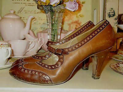 Original Vintage 1940's 30'sLeather Shoes Heels Pumps Brogues Mary Janes UK5 38
