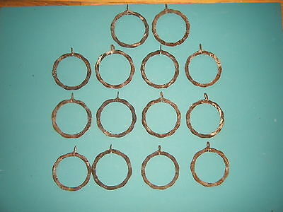 Antique 14 Large Curtain Rings Old Rusty Steampunk