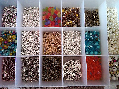 Job Lot Of Jewellery Making Charms  / Pendants Clasps /beads / Findings + Box