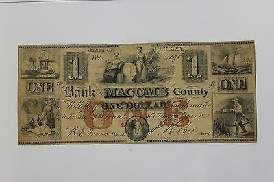 One Dollar - Bank of Macomb County - 1858