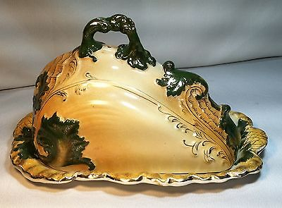 Antique Large Victorian Porcelain Covered Cheese Butter Tray Dish Shell Embossed