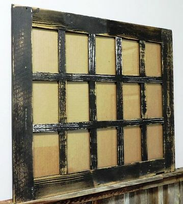 """Reclaimed Barn Wood 15 Pane Rustic Picture Frame Holds 4"""" x 6"""" Cherished Photos"""