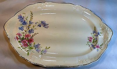 TAYLOR SMITH & TAYLOR OVAL SERVING PLATTER W PLATINUM TRIM FLORAL 1940's TST  CO