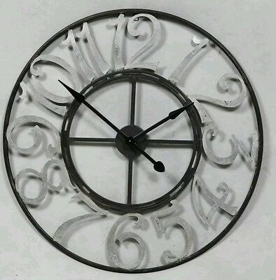 Black Skeleton Wall Clock with Large Silver Numbers