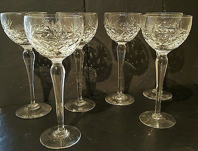 6 x Royal Brierley Crystal Hock or Wine Glasses in the Bruce Pattern