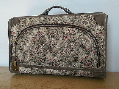 """Vintage French Luggage Co. tapestry suitcase* grey rose* 21x14"""" sml/med carry on"""