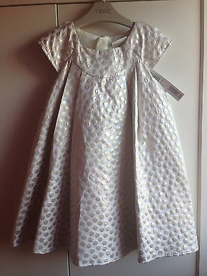 Next Girls Gold And Cream Signature Dress 1.5-2, 18-24 Months. NWT, Christmas.