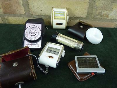 little collection of 3 vintage light meters plus a weston invercone & exposure