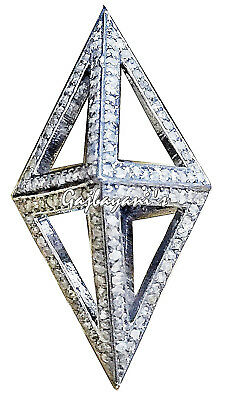 Exquisite Hand Crafted  Rose Cut Diamond Studded Double Pyramid Pendant Necklace