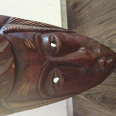 Hand Carved Solid Wooden Face Mask African Tribal Concave