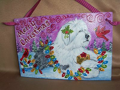 """HP Old English Sheepdog """"Merry Christmas"""" SIGN painting hand painted dog ART"""
