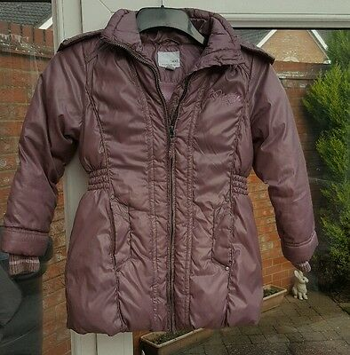 NEXT GIRLS PINK WARM WINTER PADDED HOODED COAT 7-8 YEARS (vgc)