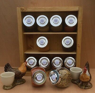 Wooden Spice Rack with Glass Jars 12 Assorted Spices included lovely Curry Pack