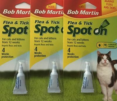 Cat Kitten BOB MARTIN Spot On Flea And Tick Treatment 3 PACKS FREE POST