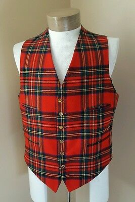 Vintage Men's G.A. Dunn Piccadilly Circus Red Plaid Wool Vest