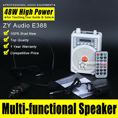 48W Voice Booster Amplifier AMP Speaker MP3 FM Microphone For Coach Teach Guide
