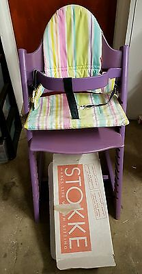 Older style Stokke Tripp Trapp Chair with baby set, cushion and harness - PURPLE