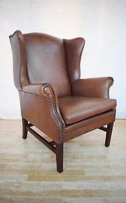 Antique Style Georgian Brown Leather Wingback Armchair