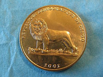 "2002 Congo D.R.  coin one Frank  "" LION ""   Uncirculated beauty animal Turtle"