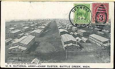PRE WW2 POST CARD 1933 US NATIONAL ARMY CAMP CUSTER MICHIGAN to ANGELO GATTI