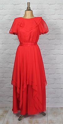 Vintage Dress Gown 80s Retro Victorian Style Evening Wedding Party Boho UK 8/10