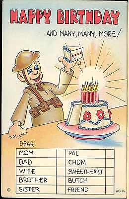 "Ww2 American Dough Boy Cartoon Post Card Us Army Happy Birthday ""glo-Var"" Finish"