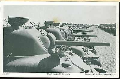 WW2 AMERICAN ARMOURED CORPS SHERMAN TANKS in TANK PARK POST CARD DESERT? AFRICA?