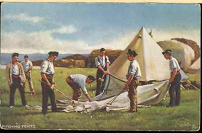 Pre? Ww1 British Army Picture Post Card Infantry Men Pitching Tent In Camp