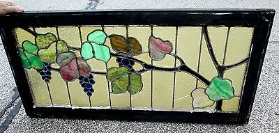 Fine Antique Arts & Crafts Grapes & Vines Stained Glass Window Ohio Estate # 319