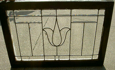 Arts & Crafts Antique Beveled Window W/tulip Design An Ohio Estate # 199