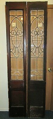 Fine Pair Beveled Antique Oak Glass Door Side- Lites Shield Design Estate #508