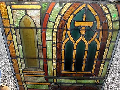 Great Early Framed Antique Stained & Enameled Glass Church Window Estate  # 541