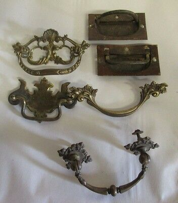 6 Assorted Antique & Vintage Brass Pulls (Batwing, Chippendale, Fancy Bale Etc)