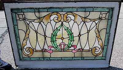 Fine Antique Arts & Crafts  Stained Glass Window W/ 7 Jewels Ny Estate  # 574