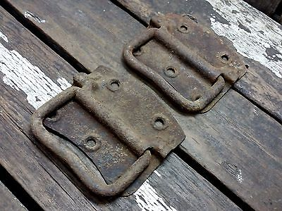 2 Vtg LARGE Old HEAVY Trunk Ammo Tool Box Metal Drop Pull Handle Industrial