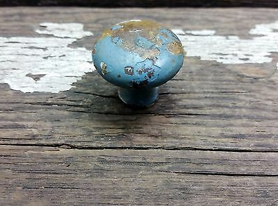 Vtg Old Antique Metal SHABBY Chippy BLUE painted Pull Knob HOOSIER Cabinet 1 1/4