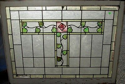 Large Antique Stained Glass Window W/ Beautiful Glasgow Rose Hyde Park  # 544