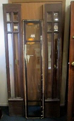 Priced To Sell 3 Pc. Antique All Beveled Pane Glass Side-Lights W/ Long Transom