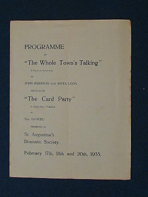 Theatre Programme 1933 - The Whole Town's Talking & The Card Party-St Augustines