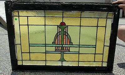Antique Arts & Crafts Lloyd Wright Type Design Stained Glass Window Estate # 292